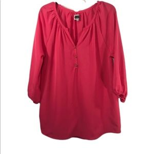 Mud Pie - Pink-Gold Buttons Tunic Top- Small